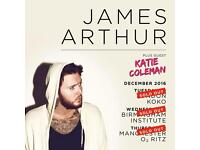 James Arthur x 2 Manchester Ritz Thursday 22nd December £170 pair ‭‭ 07393 471927‬‬