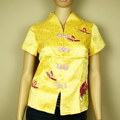 New Royal Yellow Traditional Chinese Oriental Satin Peony Flower Top Cheongsam