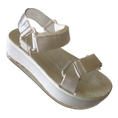 Melissa Rider Womens Ankle Strap Sandals White Hook Loop Platform Heel 7