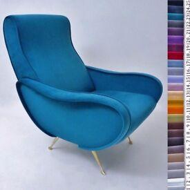 Marco Zanuso style `Lady` armchair in velvet, Italian