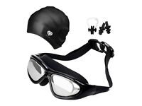 Swimming Goggles, No Leaking, plus cap and ear plugs and nose clips