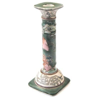 Vintage Oriental Candlestick Ceramic Pagoda Design - Size 21cm Tall FREE UK Post