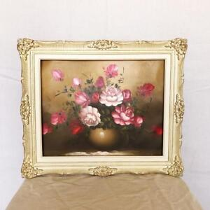 Beautiful Painting of Pink Flowers in Ornate Cream and Gold Frame