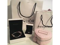 New authentic Pandora bracelet rose gold with 6 charms and free box! Comes with receipt and box