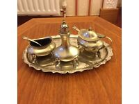 Lovely, Elegant, Antique Silver Plated Cruet Set with Tray (Francis Howard)