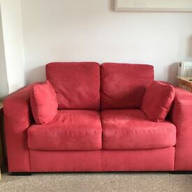 2x 2 Seater Red Suede Effects Sofas