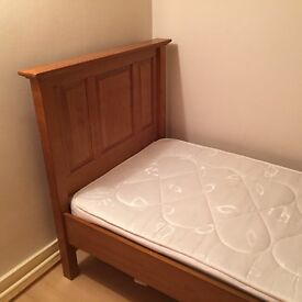 Single solid pine bed with mattress