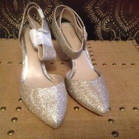 Next ladies gold glittery shoes size 37.5 or 4.5 NEW