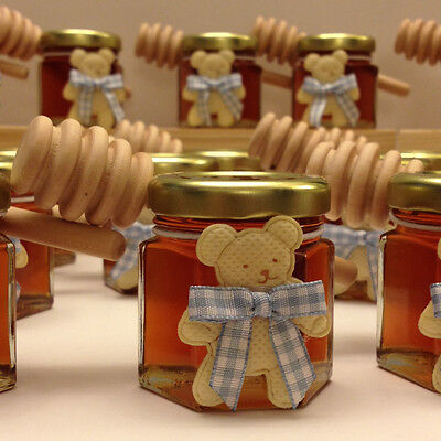 24 Qty Sweet Baby Honey Favors Mini Honey Jars with Honey Dippers