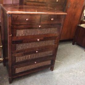 Large fruitwood chest of drawers