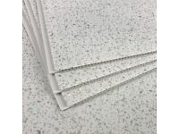 Classic White Sparkle Bathroom PVC Waterproof Cladding Panels Shower Wet Wall 2.6m x 250mm x 5mm