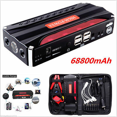 68800mAh 12V Power Bank Car Jump Starter Battery LED Torch 4 USB Charger Booster