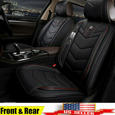 US ! 6D Leather Microfiber Seat Covers Full Surrounded Black&Red For 5 Seat Car