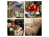 Crib John Lewis,Jumperoo,baby swing £50 for all!!!