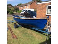 14ft Wooden Clinker style boat with trailer