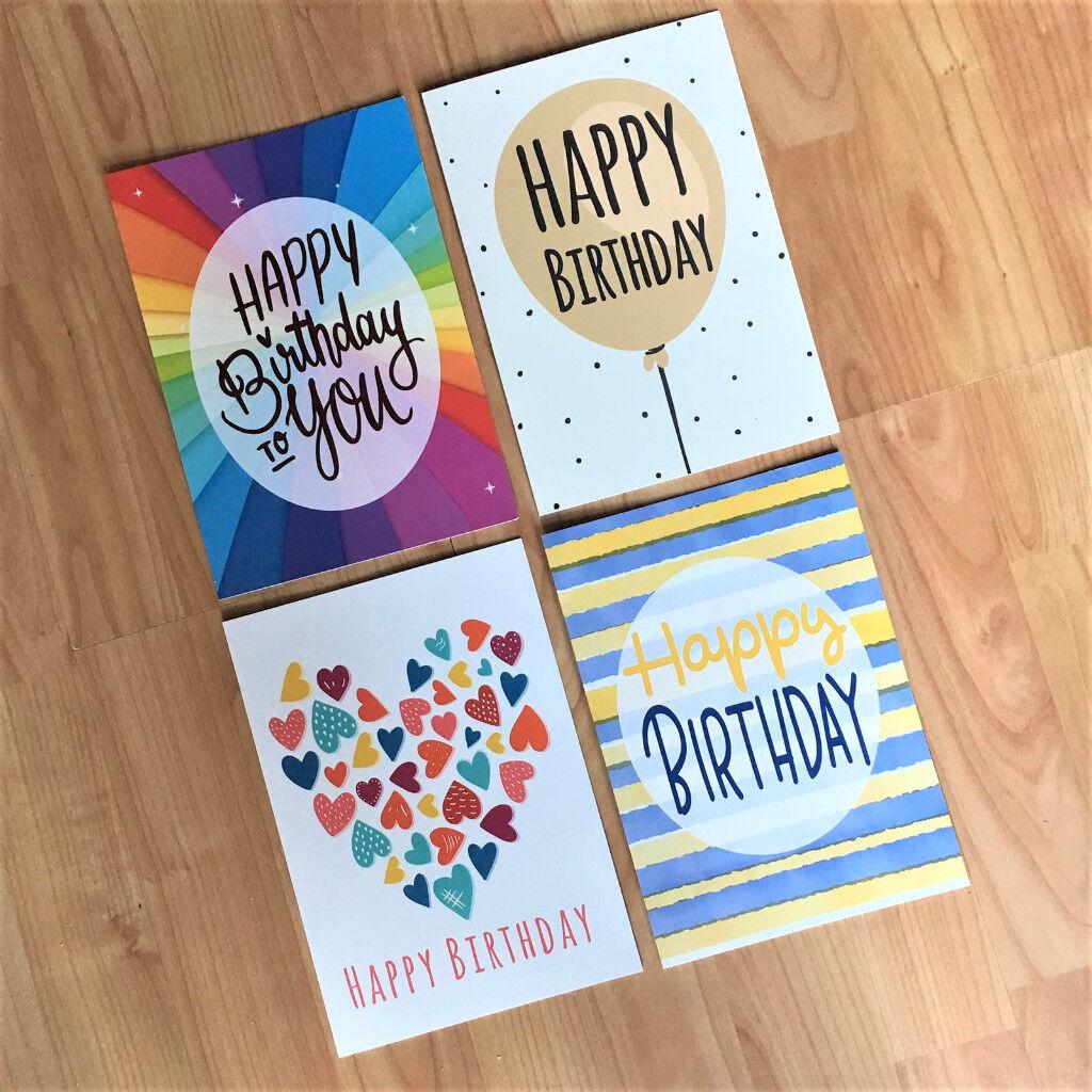 16x 4 Designs Quality Contemporary Fun Design Happy Birthday Cards Envelopes Designed In UK
