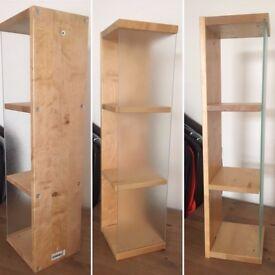 Shelf unit, wood and glass.