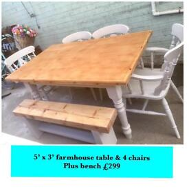 Farmhouse table and chairs & rustic bench