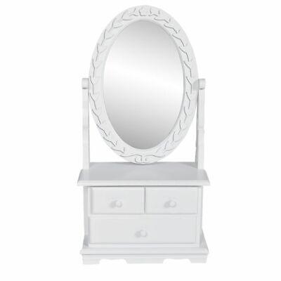 vidaXL Tocador con Espejo Giratorio Cajones MDF Blanco Mesa Maquillaje Cómoda