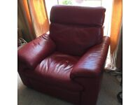 Red Leather Electric Reclining sofa with Reclining Armchair