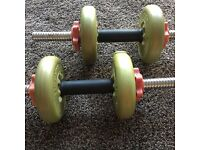Dumbells with adjustable 4 x 1.1kg weights