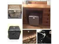 CRUSHED VELVET DIAMANTE FOOTSTOOL POUFFE STORAGE BLANKET BOX SEAT BENCH OTTOMAN