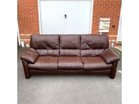 3/4 Seater Sofa Brown Chocolate Leather - Good Condition ( Free Local Delivery )