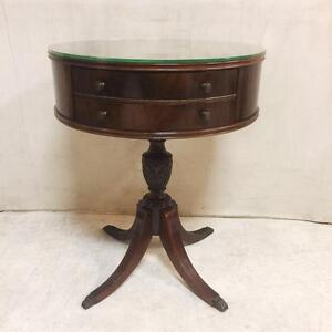 Two Drawer Glass Topped Drum Table With Duncan Phyfe Legs And Brass Claw Feet