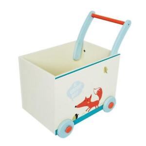 NEW Labebe Baby Walker with Wheel, White Fox Printed Wooden Push Toy, 2-in-1 Wooden