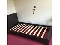 Brown leather faux single bed