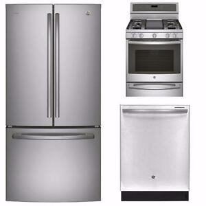 Stainless Steel Kitchen Appliances Combo: 36'' Fridge, 30'' Stove, 24'' Dishwasher