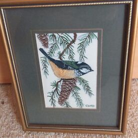 3 Lovely Cash Miniature Silk Woven Bird Pictures