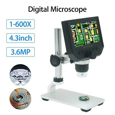 Portable Digital Microscope With Stage 1-600x 4.3 Lcd Screen Pcb Soldering Tool