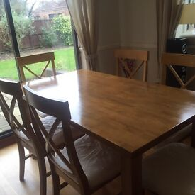 Too good to miss!! Dining table and 6 chairs, hardy used.