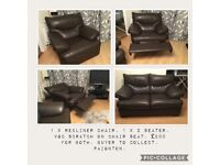 Brown leather recliner chair and 2 seater sofa. VGC.