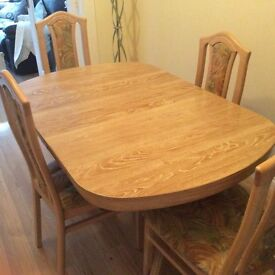Limed Oak table & 4 chairs