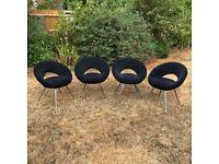 4 Contemporary Retro Chairs - Black
