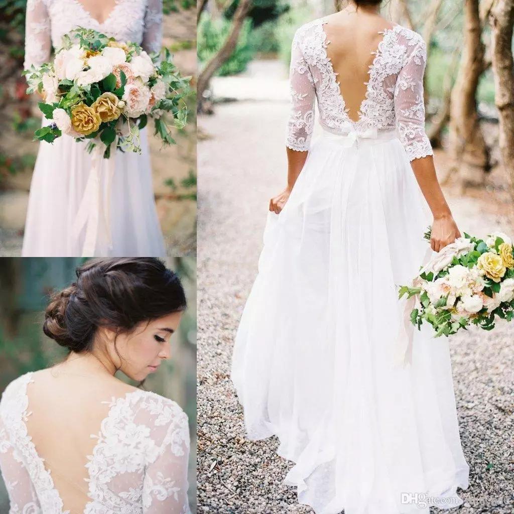 Boho Wedding Dresses Sheath Long Sleeves V Neck Backless Bridal ...