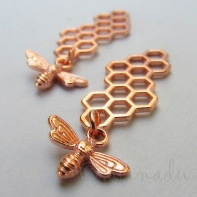 Bee Honeycomb Charms 46mm Wholesale Rose Gold Tone Pendants C7853 - 5, 10, 20PCs - Bee Charms