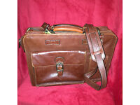 San Babila (Italian) Leather Top Opening Briefcase - Cognac