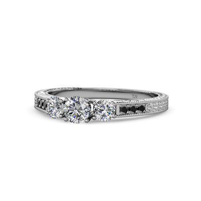 Diamond Three Stone Ring with Black Diamond on Side Bar in 14K Gold (Engagement Rings With Black Diamond Side Stones)
