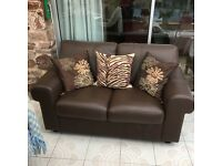 Sofa - brown leather two seater