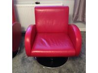 Red leather sofa and 2 chairs for sale