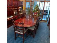 Solid Wood Mahogany 8 Seater Extendabke Dinning Table With Chairs