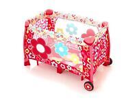 Girls flower travel cot