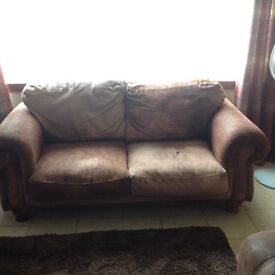 Leather Brown 2 Seater and armchair