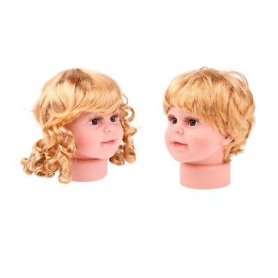 2pcs Girl Boy Mannequin Manikin Head Wig Kid Glasses Hat Display S
