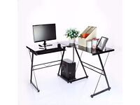 L-Shaped Glass Corner Desk
