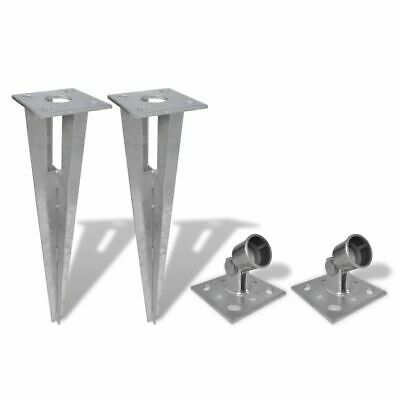 Vidaxl 4 Piece Fence Post Spike Anchors Set With Holders Accessories Tools