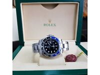 New Silver Rolex GMT Master II Blue-Black Bezel Cones Rolex Boxed with Paperwork